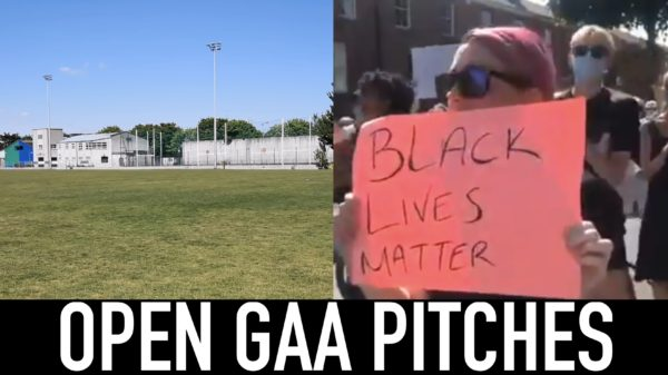 GAA pitch and black lives matter protest