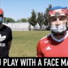 GAA sports players wearing hurling helmets and face masks